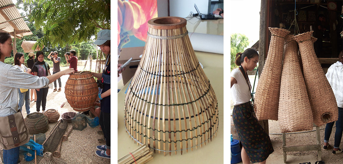 lamp inspired by a fish trap